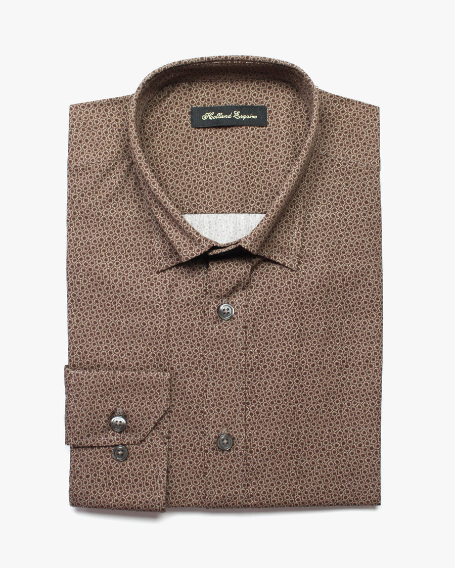 Brown Liberty Daisy Button Under Shirt - Holland Esquire