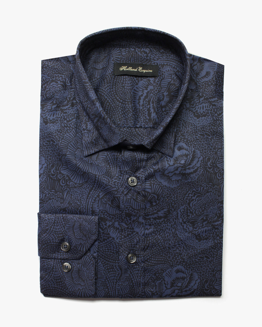 Navy Liberty Dark Flowers Button Under Shirt - Holland Esquire