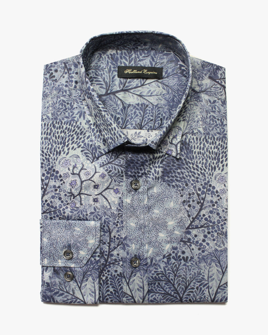 Blue Liberty Stems Button Under Shirt - Holland Esquire