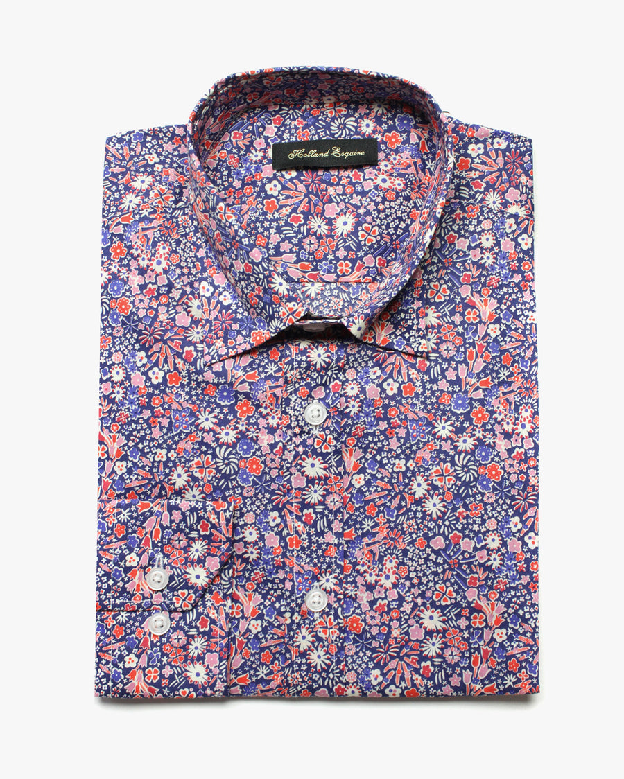 Blue Liberty Star Flower Button Under Shirt - Holland Esquire
