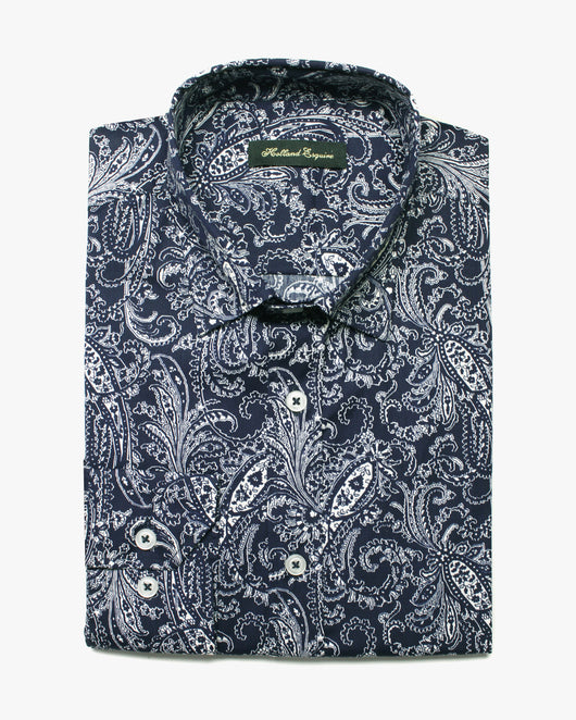 Navy Liberty Paisley Button Under Shirt - Holland Esquire