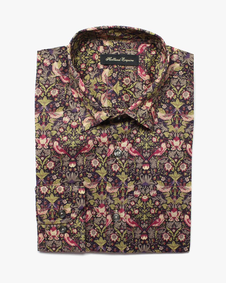 Khaki Liberty Night Flower Button Under Shirt - Holland Esquire