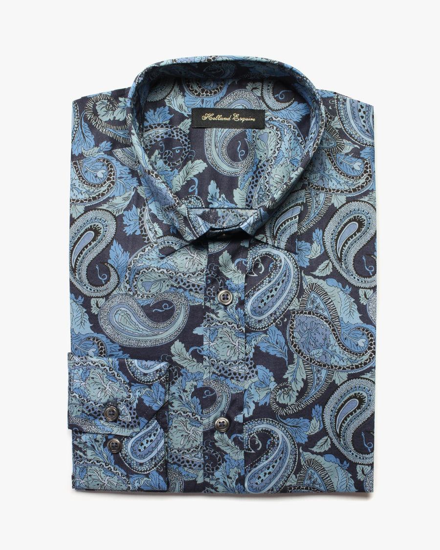 Navy Liberty Blue Paisley Button Under Shirt - Holland Esquire