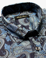 Navy Liberty Blue Paisley Button Under Shirt