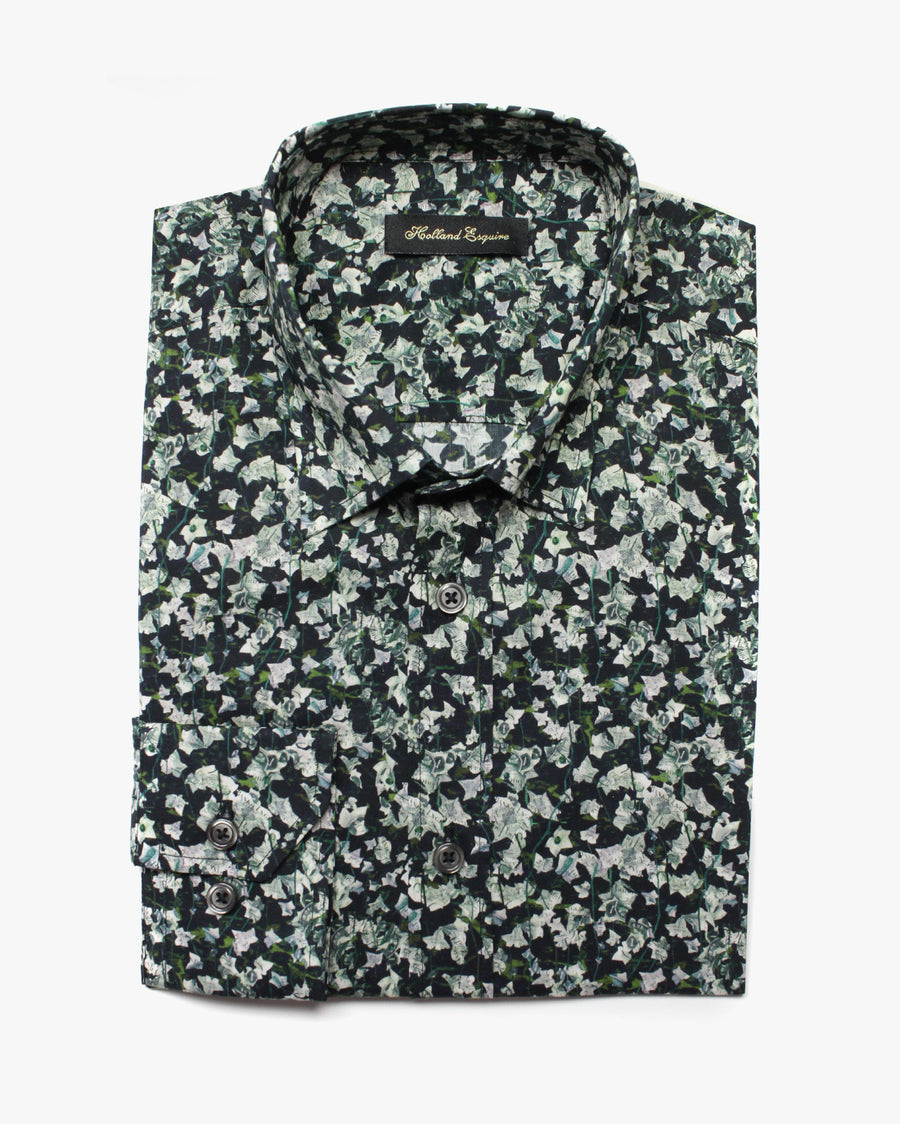 Black Liberty Grey Flower Button Under Shirt - Holland Esquire