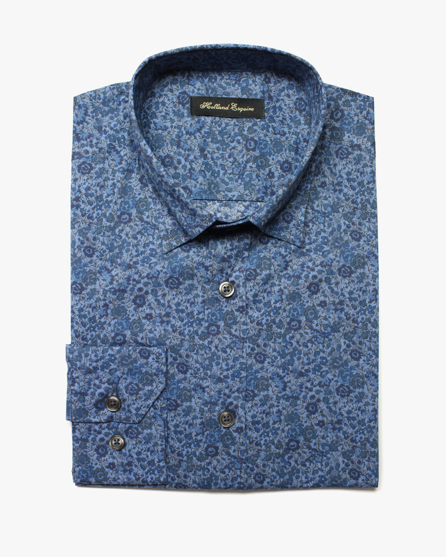 Blue Liberty Flowers Button Under Shirt - Holland Esquire