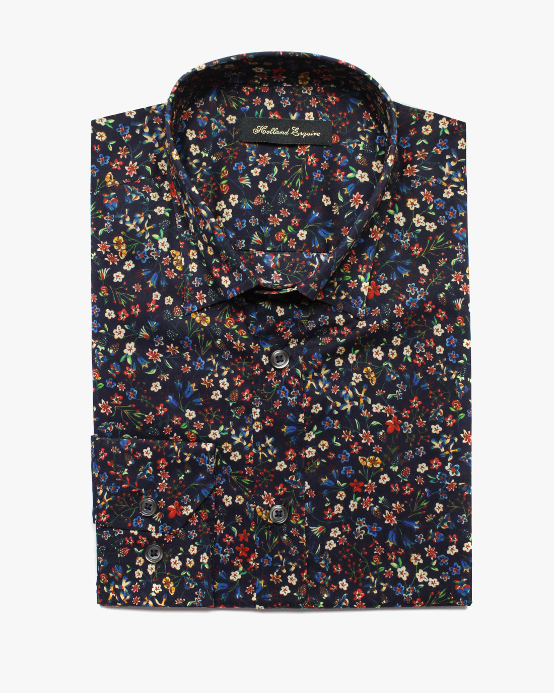 Black Liberty Posy Button Under Shirt - Holland Esquire