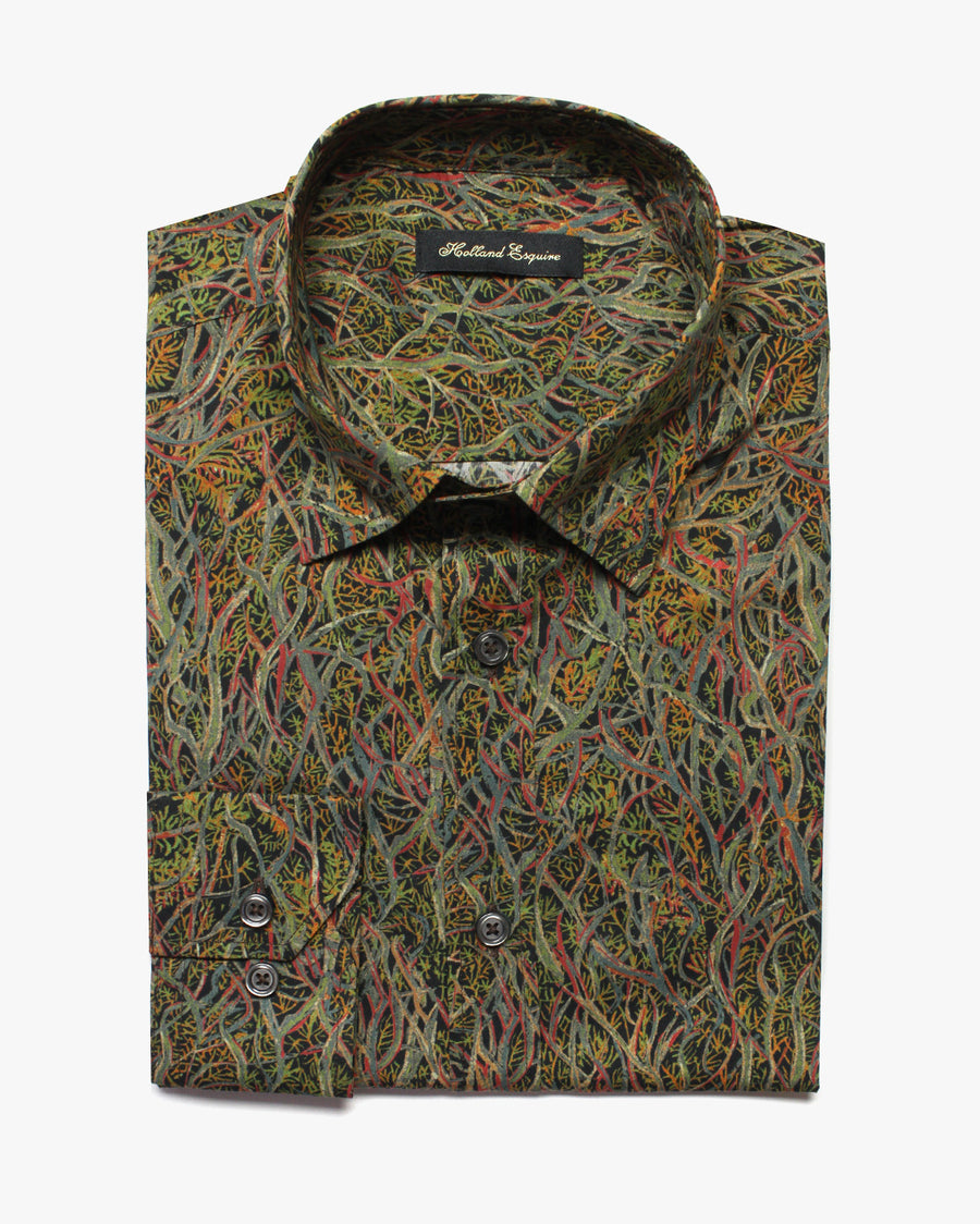 Green Liberty Wild At Heart Button Under Shirt - Holland Esquire