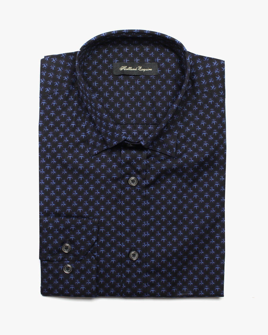 Navy Liberty Crown Button Under Shirt - Holland Esquire