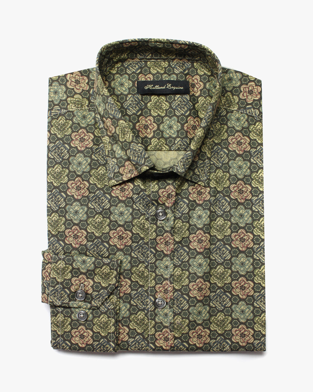 Green Liberty Flowers Button Under Shirt