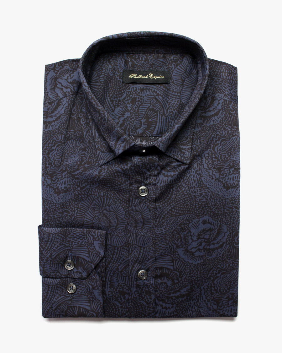 Navy Liberty Fuschia Button Under Shirt - Holland Esquire