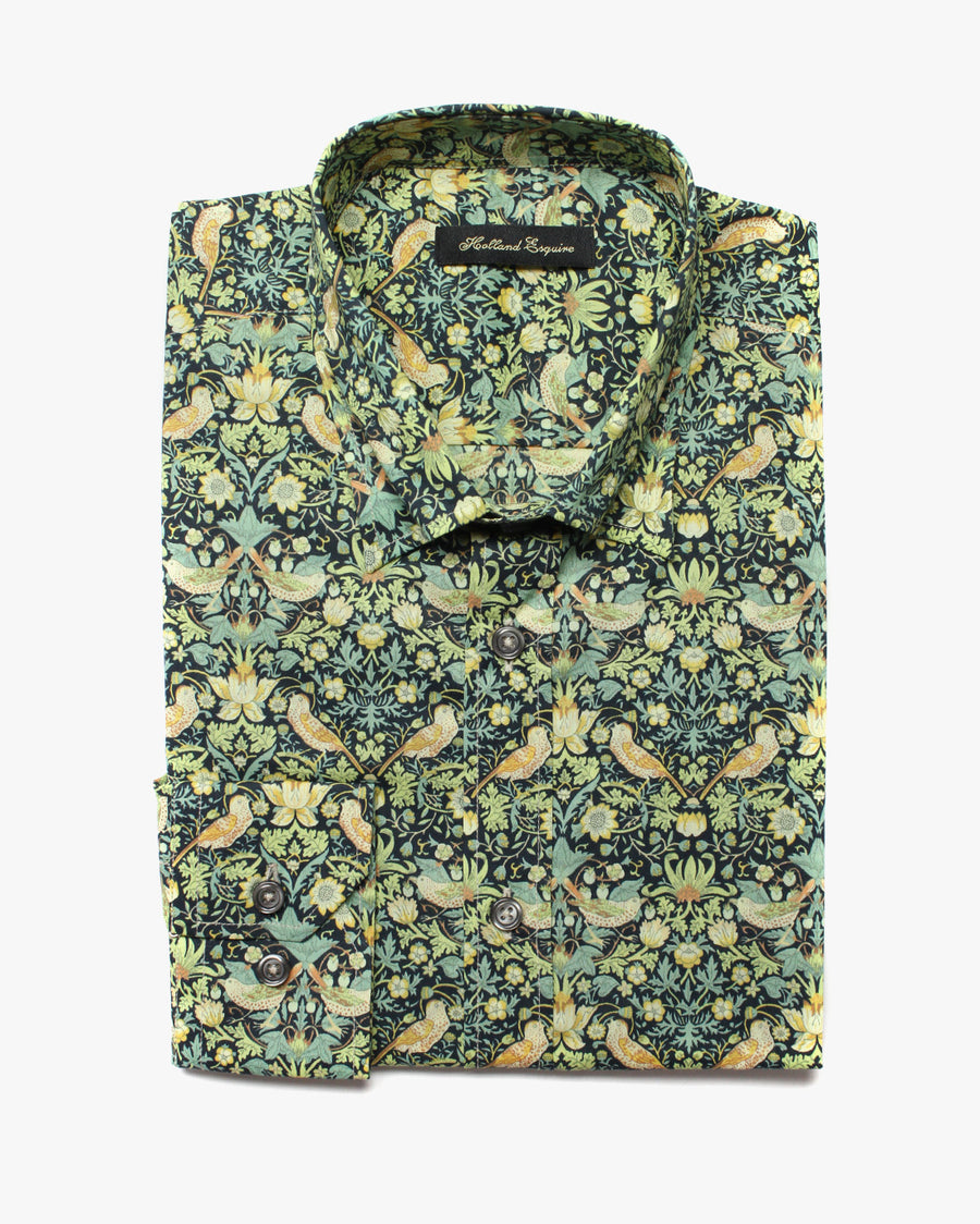 Green Liberty Strawberry Thief Button Under Shirt - Holland Esquire