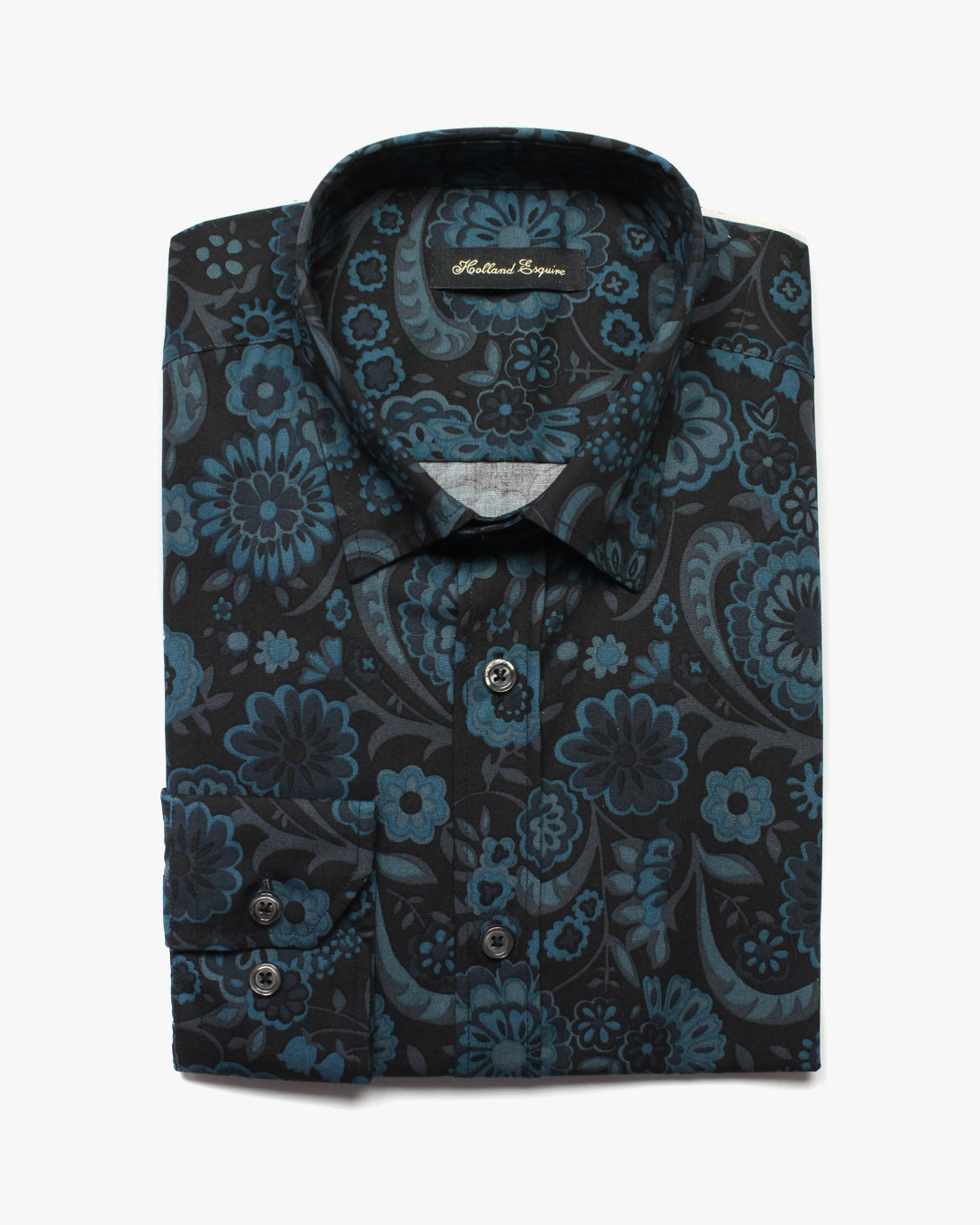 Blue Black Liberty Flowers Button Under Shirt