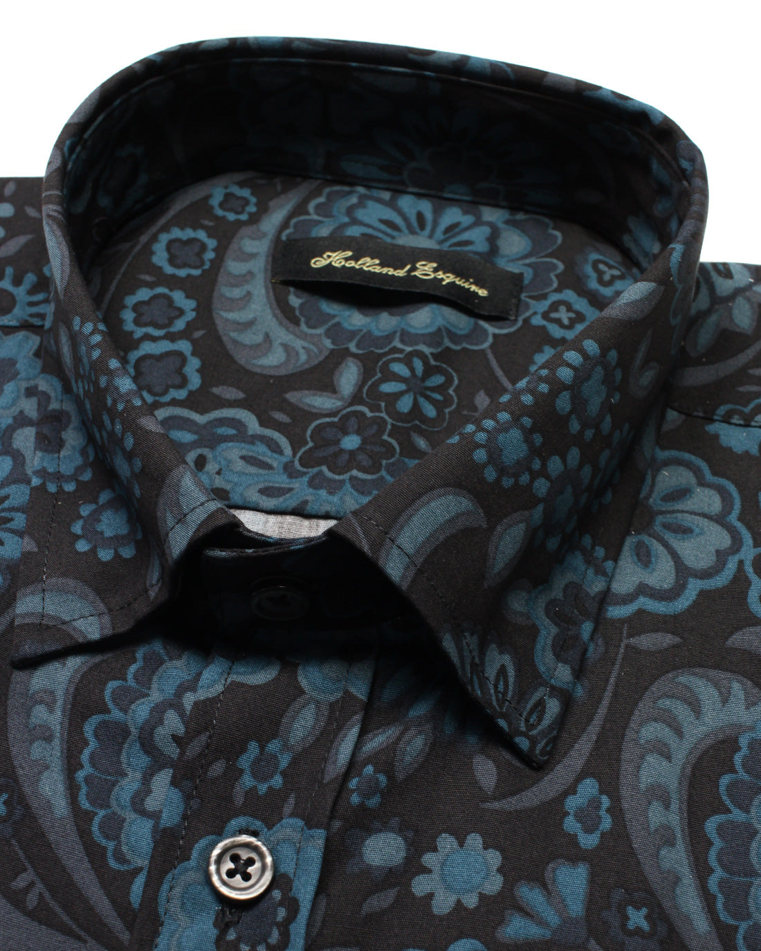 Blue Black Liberty Flowers Button Under Shirt - Holland Esquire