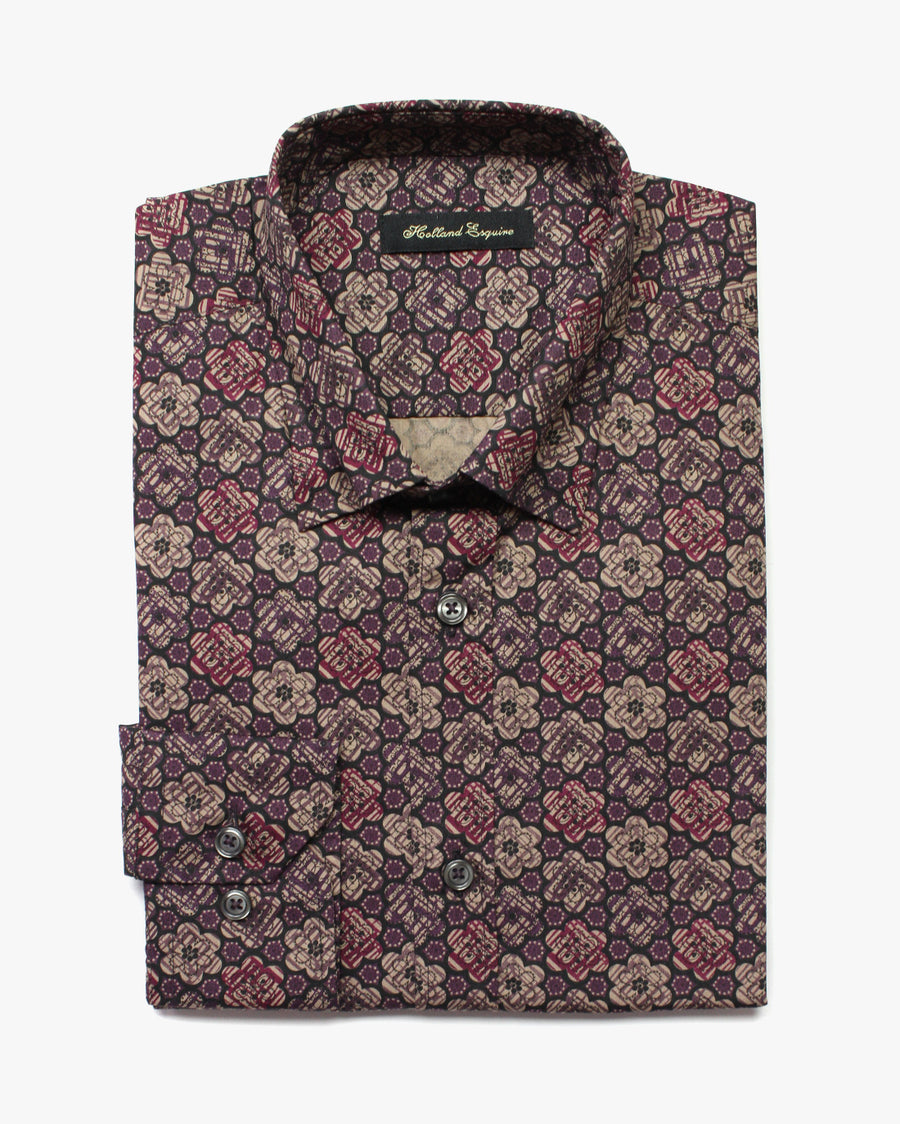 Smoke Liberty Abstract Button Under Shirt - Holland Esquire