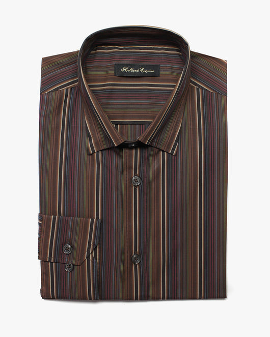 Brown Liberty Stripe Button Under Shirt - Holland Esquire
