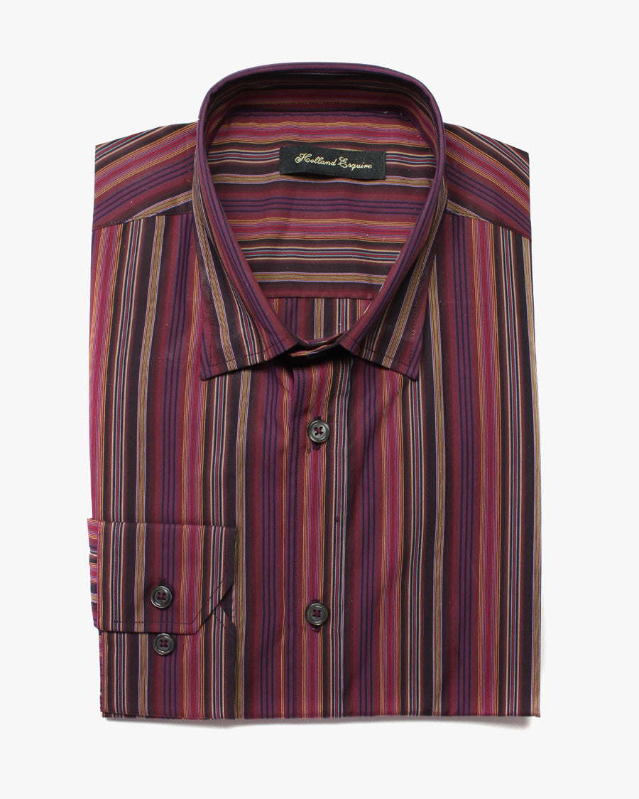 Dark Multi Liberty Stripe Button Under Shirt - Holland Esquire
