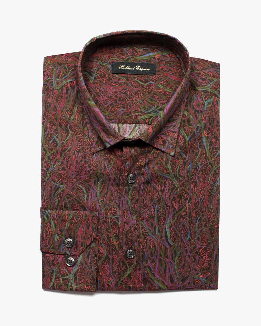 Plum Liberty Wild At Heart Button Under Shirt - Holland Esquire