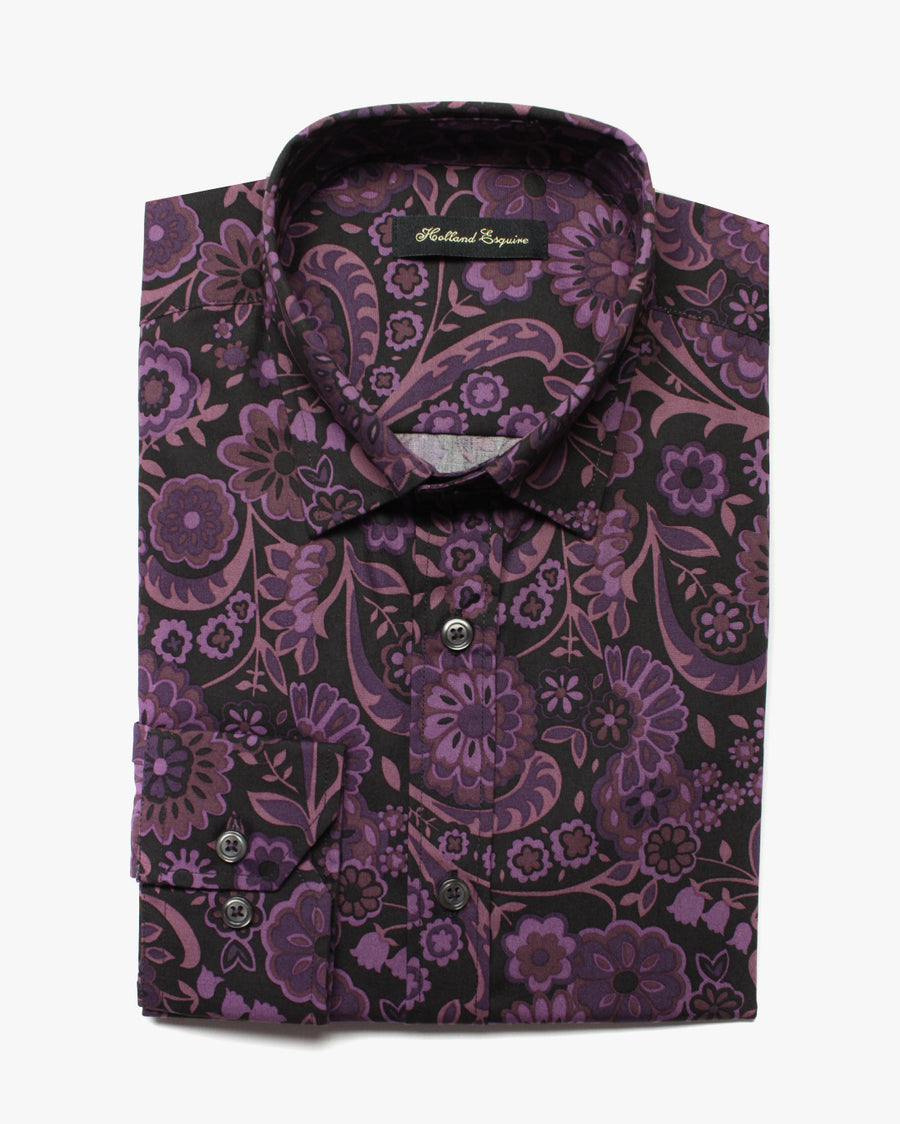 Black Liberty Purple Flowers Button Under Shirt - Holland Esquire