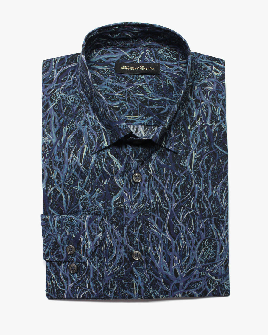 Blue Liberty Wild At Heart Button Under Shirt - Holland Esquire