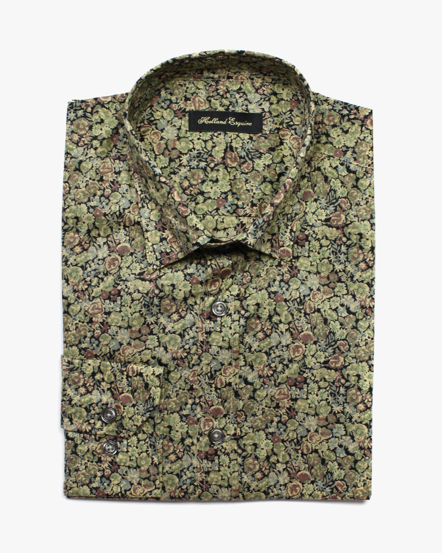 Green & Black Liberty Flowers Button Under Shirt - Holland Esquire