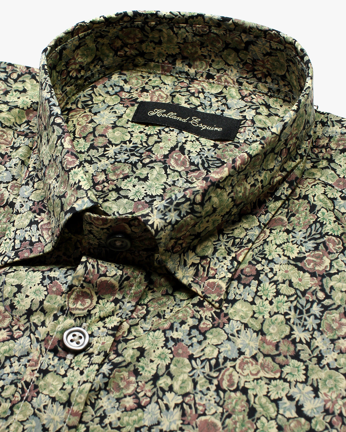Green Black Liberty Flowers Button Under Shirt - Holland Esquire