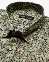 Green & Black Liberty Flowers Button Under Shirt