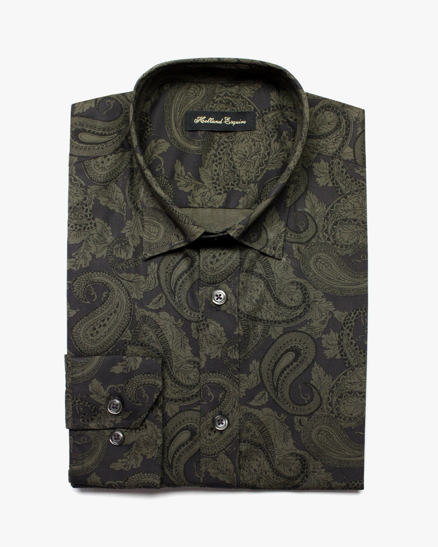 Grey Liberty Dark Green Paisley Button Under Shirt - Holland Esquire