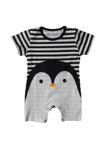 Happy Penguin Short Sleeve Romper
