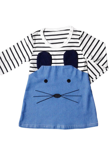 Striped Patchwork Long Sleeve Dress with Cute Mouse