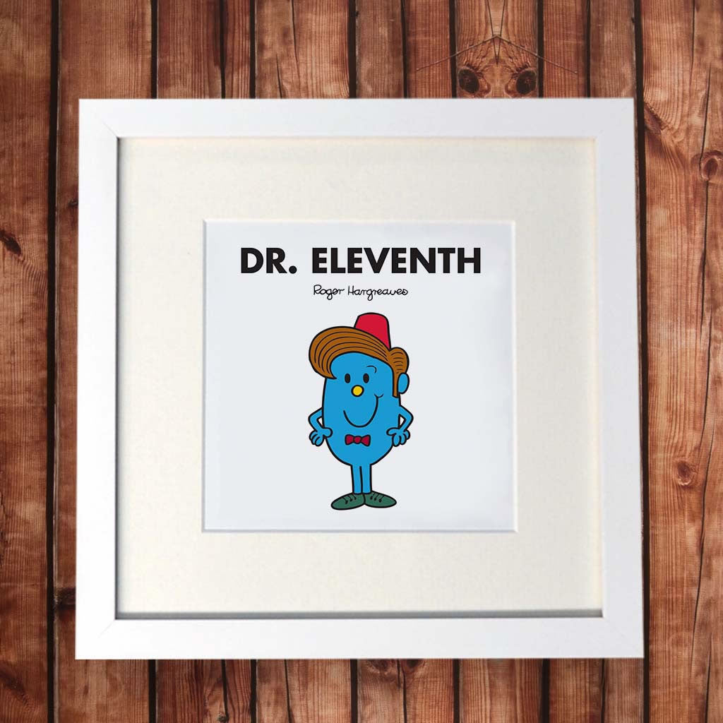 Dr. Eleventh White Framed Print (Lifestyle)
