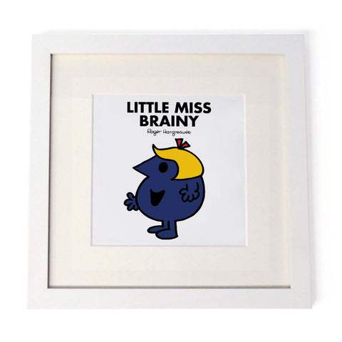 Little Miss Brainy White Framed Print