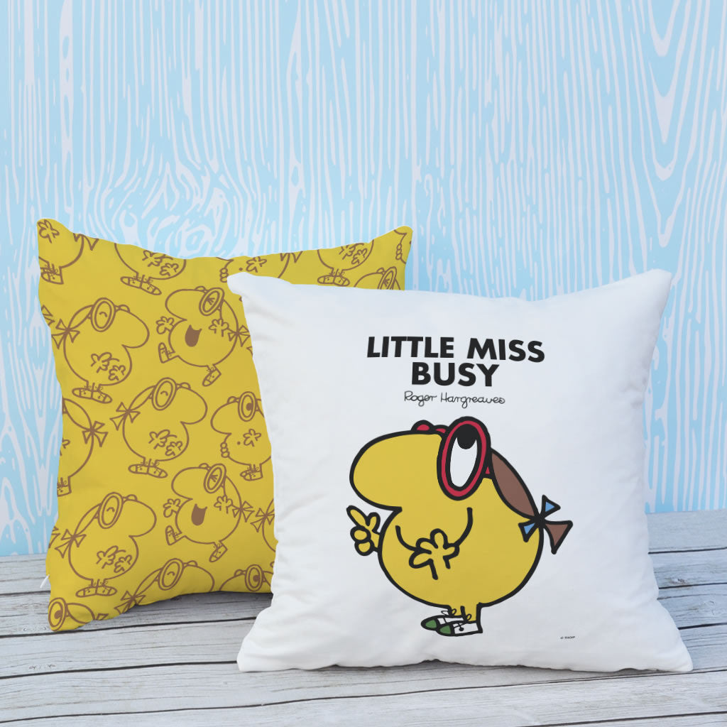 Little Miss Busy Micro Fibre Cushion (Lifestyle)
