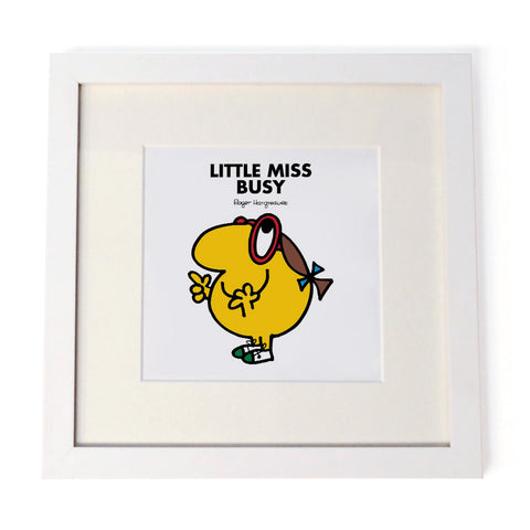 Little Miss Busy White Framed Print