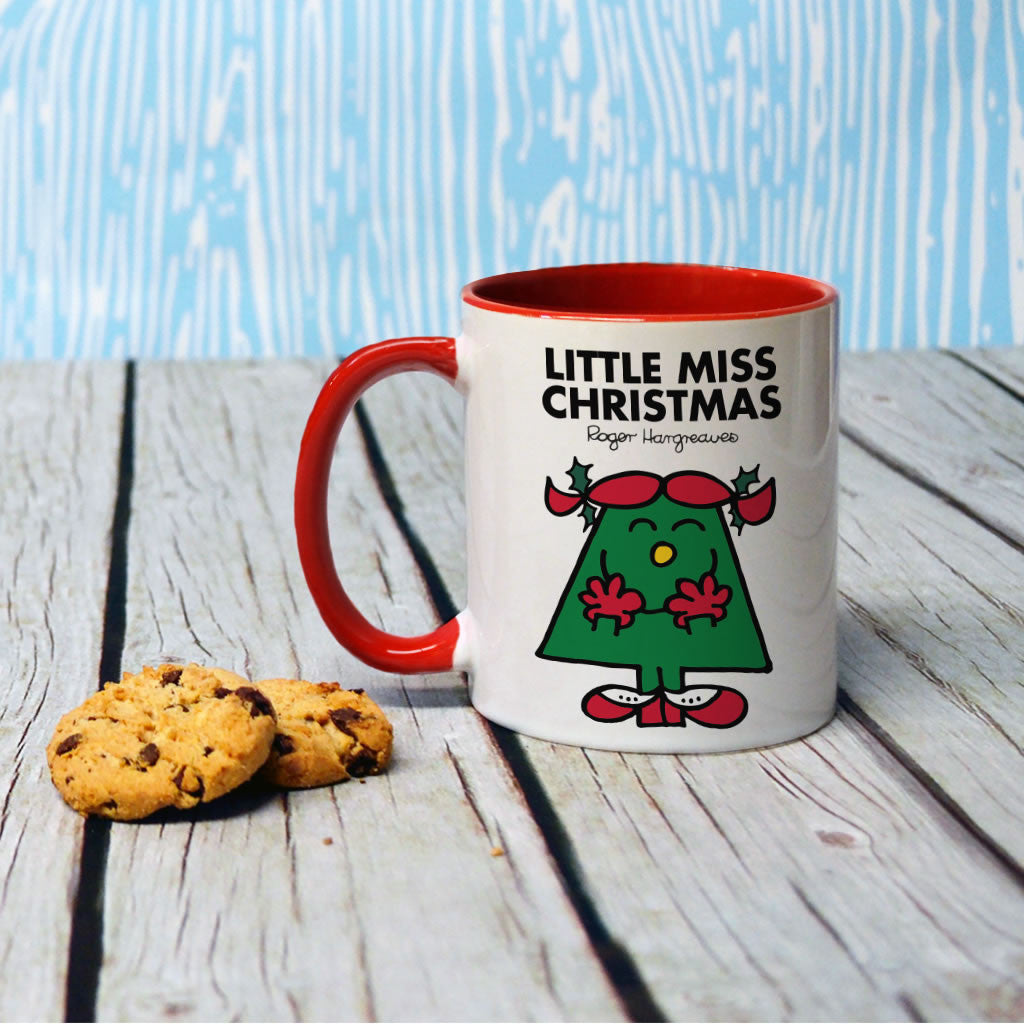 Little Miss Christmas Large Porcelain Colour Handle Mug (Lifestyle)
