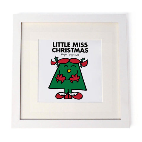 Little Miss Christmas White Framed Print