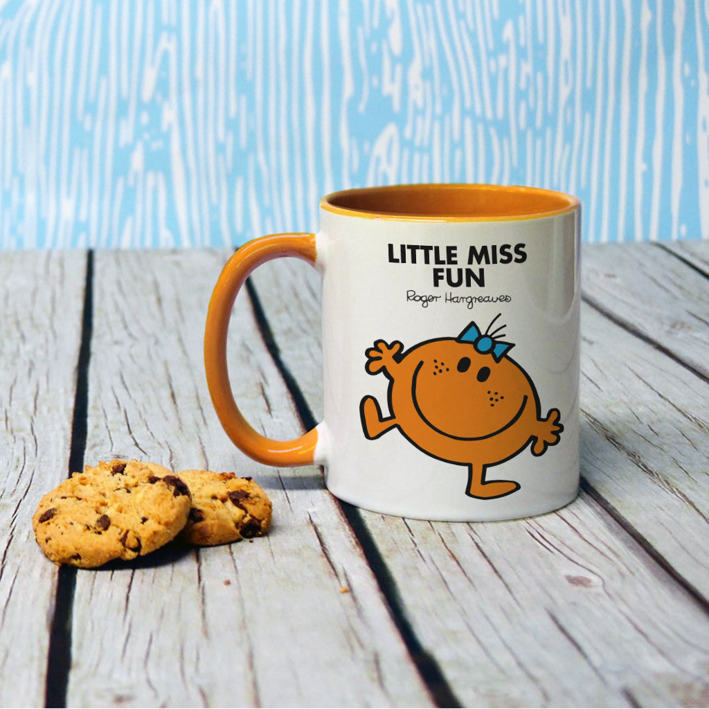 Little Miss Fun Large Porcelain Colour Handle Mug (Lifestyle)