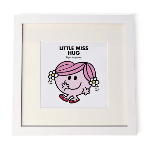 Little Miss Hug White Framed Print