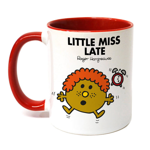 Little Miss Late Large Porcelain Colour Handle Mug