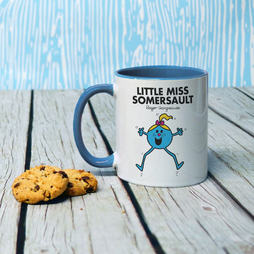 Little Miss Somersault Large Porcelain Colour Handle Mug (Lifestyle)