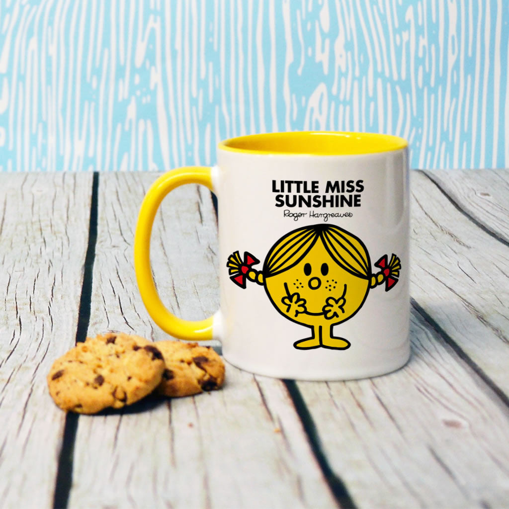 Little Miss Sunshine Large Porcelain Colour Handle Mug (Lifestyle)