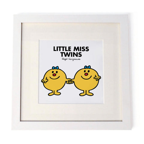Little Miss Twins White Framed Print