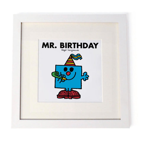 Mr. Birthday White Framed Print