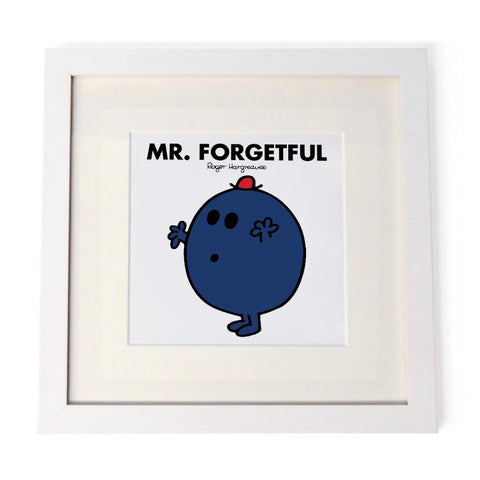 Mr. Forgetful White Framed Print