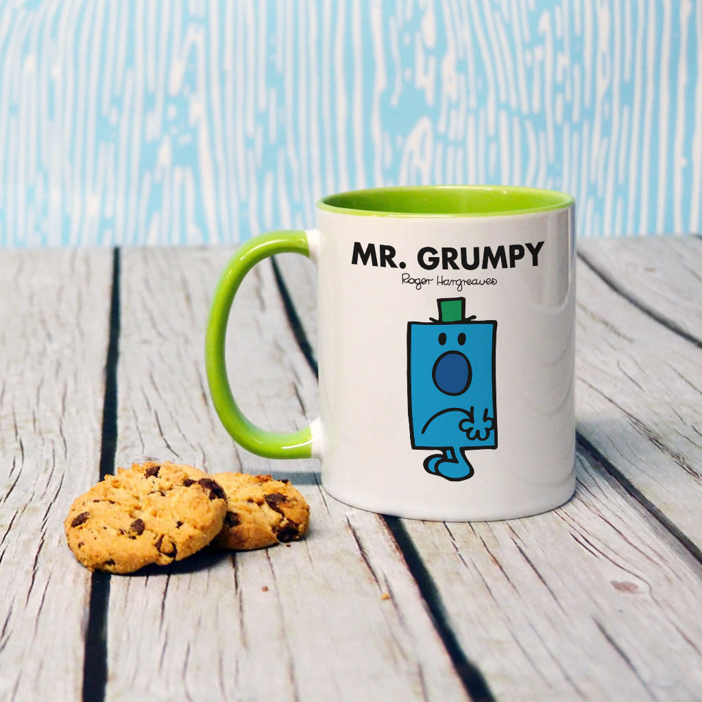 Mr. Grumpy Large Porcelain Colour Handle Mug (Lifestyle)