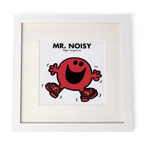 Mr. Noisy White Framed Print