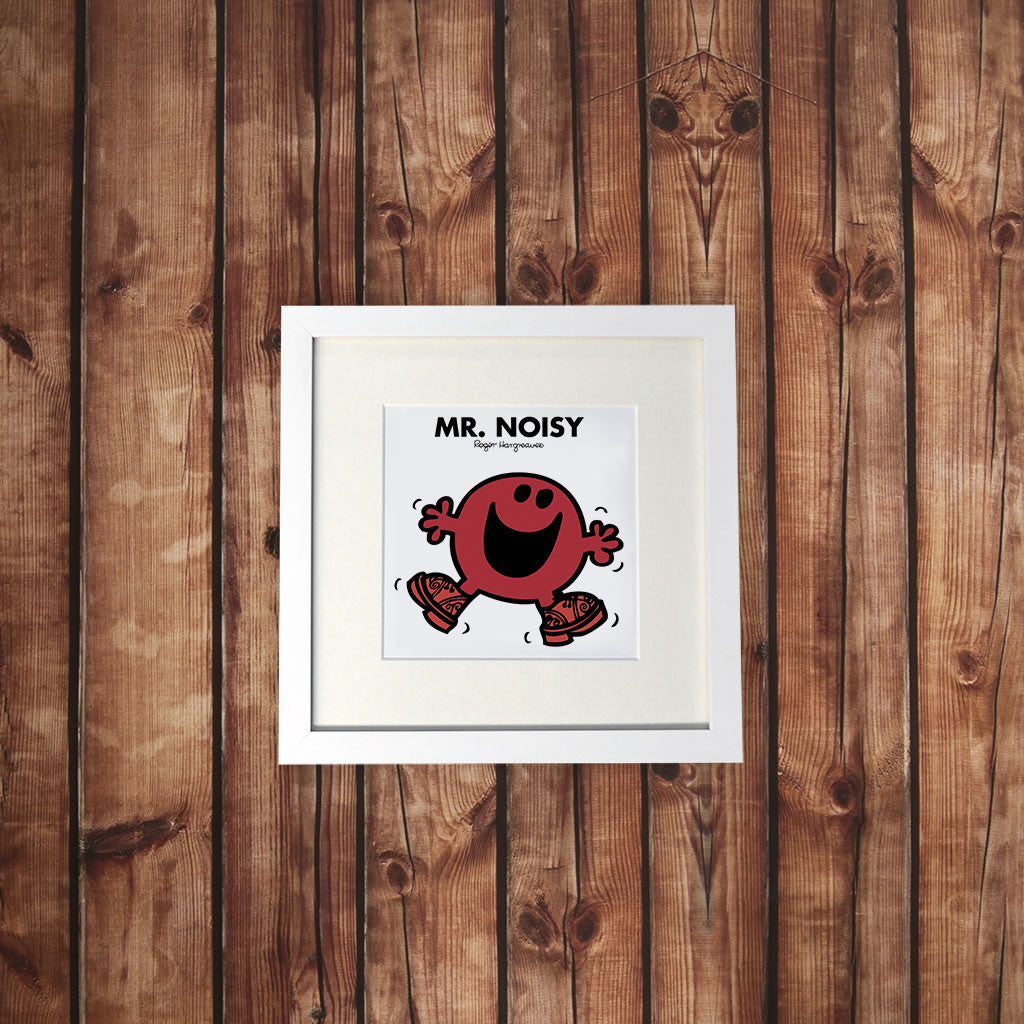 Mr. Noisy White Framed Print (Lifestyle)
