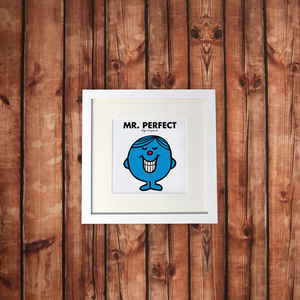 Mr. Perfect White Framed Print (Lifestyle)