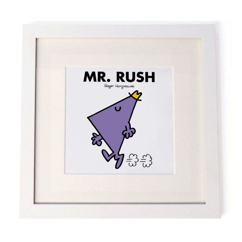 Mr. Rush White Framed Print