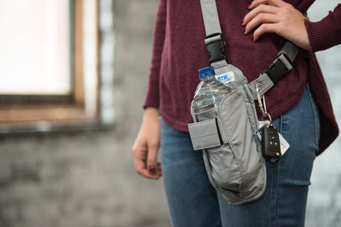 Gray Solid Cross-body or Waist Strap Bottle HOLSTR